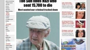 """Versão eletrônica do jornal """" The Sun """", que anunciou a localização de Laszlo Csatary, em 14 de julho de 2012"""