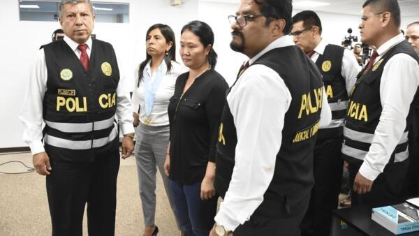 La fille de l'ancien président Fujimori et cheffe de l'opposition péruvienne après l'énoncé du verdict, au tribunal de Lima, le 28 janvier 2020.