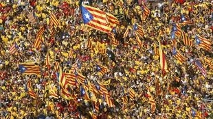A Catalan pro-independence rally in Barcelona ahead of the consultation in 2014.