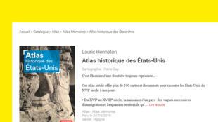 Capture d'écran de la couverture du livre «Atlas historique des États-Unis», co-écrit par Lauric Henneton et publié aux éditions Autrement.