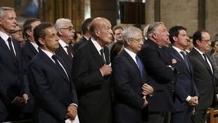 From left to right: Nicolas Sarkozy, Valéry Giscard d'Estaing, Claude Bartolone, Gérard Larcher, Manuel Valls and François Hollande attend a mass at Notre-Dame de Paris on 27 July, 2016 in honour of a slain priest