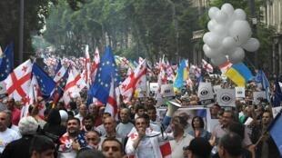 Une manifestation le 29 juin à Tbilissi, contre la répression qu'a utilisé le gouvernement pour faire taire les protestations concernant l'affaire Sergey Gavrilov.