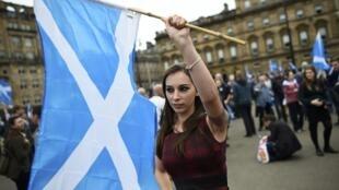 """Una mujer lleva una bandera escocesa durante un acto a favor del """"Sí"""" en Glasgow, el 17 de septiembre de 2014."""