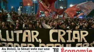 Artigo do jornal francês Le Monde fala sobre a reforma trabalhista que vai ser votada amanha pelo senado brasileiro.