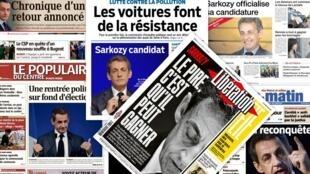 A pré-candidatura do ex-presidente Nicolas Sarkozy às eleições presidenciais francesas, anunciada ontem, é destaque nas manchetes dos jornais franceses desta terça-feira (23).