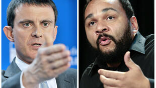French Interior Minister Manuel Valls (R) has called Dieudonné MBala Mbala a small businessman of anti-Semitism
