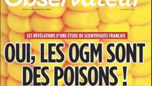 Capa da revista Nouvel Observateur de 20 de setembro de 2012 com os resultados da pesquisa realizada na Universidade de Caen.