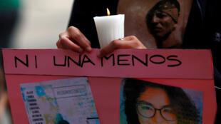 Manifestation contre le féminicide et la violence à l'égard des femmes, au monument Hemiciclo a Juarez à Mexico, le 24 août 2019.