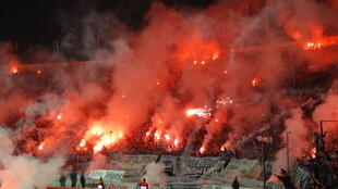 PAOK fans during a Greek Cup match against Olympiakos