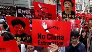 Manifestation à Hong Kong contre le projet de loi d'extradition judiciaire vers la Chine continentale, le 9 juin 2019.