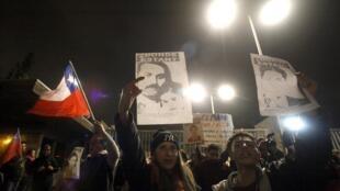 Manifestación tras la muerte de Manuel Contreras, el pasado 8 de agosto en Santiago de Chile.