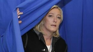 Front National leader Marine Le Pen votes on Sunday
