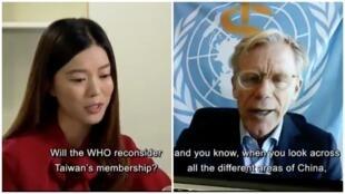 香港電台記者唐若韞採訪世衛組織助理總幹事艾爾沃德資料圖片