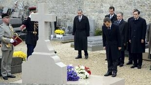 Ceremony at the grave of Charles De Gaulle in the cemetery at Colombey-Les-Deux Eglises November 9, 2010 to mark the 40th anniversary of De Gaulle's death..