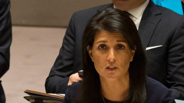 La embajadora estadounidense Nikki Haley en la reunión del Consejo de Seguridad sobre Corea del Norte el  4 de septiembre 2017.
