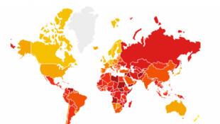 Bản đồ của tổ chức Minh Bạch Quốc Tế về mức độ tham nhũng trên thế giới năm 2016.