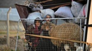 آوارگان سوری هنگام ورود به اردوگاه دیرال در حومه عفرین، در امتداد مرز با ترکیه. چهارشنبه ٣٠ بهمن/ ۱٩ فوریه ٢٠٢٠