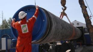 Le chantier de construction du gazoduc Nord Stream 2, près de la ville de Kingisepp, dans la région de Léningrad, en Russie, le 5 juin 2019.