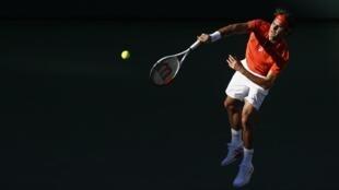 Роджер Федерер в игре против Ивана Додига, Индиан-Уэллс, 11 марта 2013 года