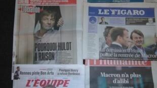 Jornais franceses  do dia 29.8.2018