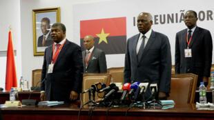 João Lourenço e José Eduardo dos Santos no final da reunião do Comité Central do MPLA. 03/02/2017