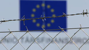 A barbed-wire fence at a Hungarian border post, as seen on 30 August, 2016.