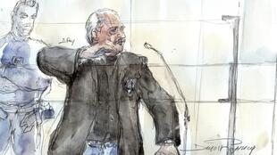 A courtroom sketch of Carlos on Monday 28 March