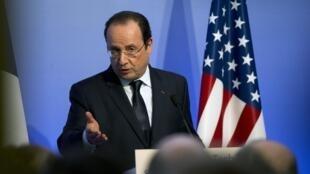 O presidente François Hollande em uma conferência em São Francisco nos EUA.