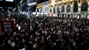 Commuters at the Saint-Lazare railway station in Paris.