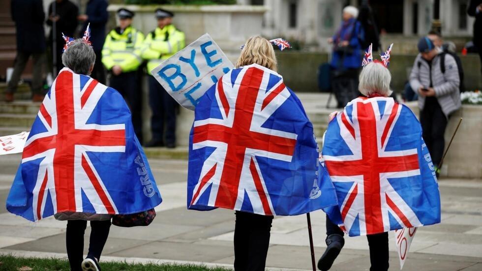 Británicos celebran la salida del Reino Unido de la Unión Europea, 31 de enero, 2020.