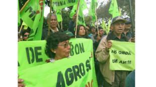Des habitants de la vallée de Tambo brandissent des banderoles «Oui à l'agriculture, non à la mine», lors d'une manifestation contre le projet minier Tia Maria, devant le Ministère de l'Énergie et des Mines à Lima, le 7 octobre 2019.