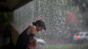 La tempête Isaac déchaine des pluies diluviennes dans la région de Tampa, Etat de Floride, en août 2012.