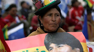 El Alto, 7 août 2008. Une supportrice d'Evo Morales, lors de son meeting, dans la banlieue de La Paz.