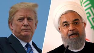 美國總統特朗普與伊朗總統魯哈尼資料圖片
