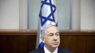 O primeiro-ministro de Israel, Benjamin Netanyahu, em reunião ministerial na manhã deste domingo (4) em Jerusalém.