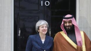 លោកស្រីនាយករដ្ឋមន្រ្តីអង់គ្លេស Theresa May និងស្តេចស្នងរាជ្យអារ៉ាប៊ីសាអូឌីតMohammed ben Salmane