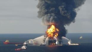 Blazing remnants of the off shore oil rig Deepwater Horizon, off Louisiana
