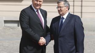 Президент Украины Виктор Янукович (слева) со своим польским коллегой Брониславом Коморовски перед саммитом Центральной Европы в Варшаве