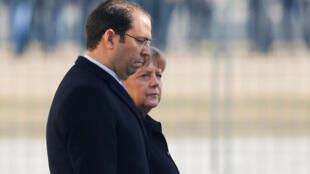 Youssef Chahed et Angela Merkel à Berlin, le 14 février 2017.