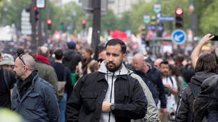 Alexandre Benalla during May Day protests in Paris on May 1, 2018.
