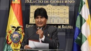 El presidente Evo Morales, durante el anuncio.