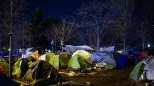 Un camp de migrants près de la porte d'Aubervilliers, dans le nord de Paris. Le 28 janvier 2020.