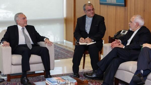 Ministro das Relações Exteriores do Irã, Mohammad Javad Zarif, esteve em Brasília em abril e foi recebido por Michel Temer.