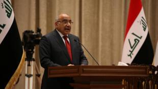 O Primeiro-ministro iraquiano Adel Abdel no passado 24 de Outubro de 2019 em Bagdad.