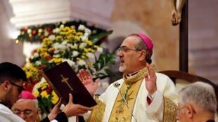 Tổng giám mục Jerusalem Pierbattista Pizzaballa chủ trì lễ tại Nhà Thờ Giáng Sinh, ở Bethlehem, ngày 25/12/2019