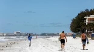 美國疫情下佛羅里達海灘 2020年4月1日照片