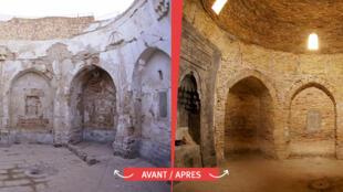 """聖貝赫納姆清真寺(Mar Behnam)2015被聖戰組織摧毀,經""""博愛協會""""修復之前與之後的不同光景。"""