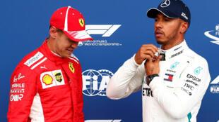 Lewis Hamilton (right) will start from pole ahead of Sebastian Vettel (left) at the 2018 Belgian Grand Prix.