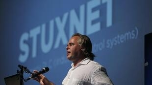 Eugene Kaspersky speaks at a Tel Aviv University cyber security conference, 6 June, 2012