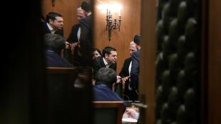 Премьер-министр Алексис Ципрас с членами кабмина перед заседанием совета министров. 29.01.2019